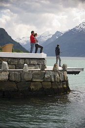 Fishing from pier at Hotel Ullensvang